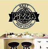Hwhz 57X46 CmPizza Shop Adesivo Rimovibile Pizzeria Fast Food Wall Sticker Vinile Pizza Design Poster Window Sticker Ristorante Decor