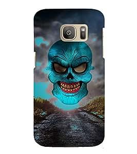 Green Horror Skull Graphics 3D Hard Polycarbonate Designer Back Case Cover for Samsung Galaxy S7 Edge :: Samsung Galaxy S7 Edge Duos G935F