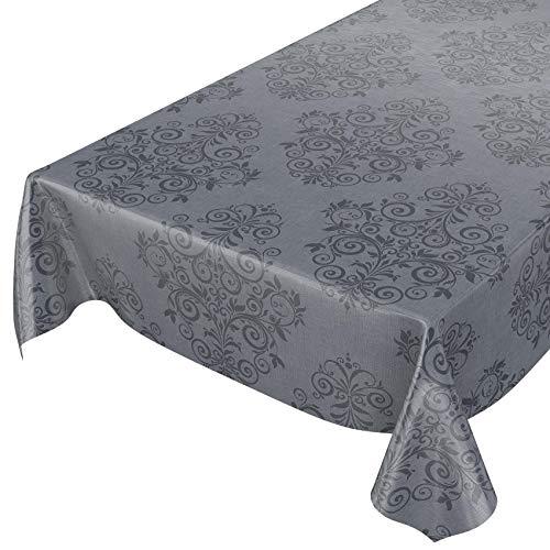 ANRO Wachstuchtischdecke Wachstuch Wachstischdecke Tischdecke abwaschbar Ranken Barock Arabeske Anthrazit 120 x 140cm