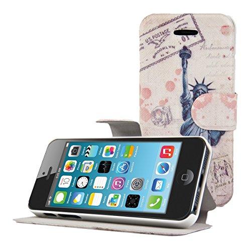 kwmobile Flip Hülle Case für Apple iPhone SE / 5 / 5S mit CutOut Design - Kunstleder Smartphone Tasche Schutzhülle in Schwarz Rot Freiheitsstatue Post Blau Weiß