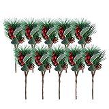Clispeed 10pcs Piccolo PVC Artificiale Picks Tree Picks per Le composizioni Floreali di Natale Ghirlande Decorazione della casa (con Sei Bacche e Due Alberi di Pino in Uno)