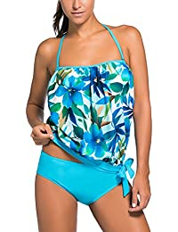 OLIPHEE Women's Bandeau Swimsuits Soft Cup Strapless Blouson Tankini with Breifs
