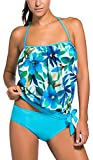 OLIPHEE Women's Bandeau Swimsuits Soft Cup Strapless Blouson Tankini with Breifs Blue Flower 2XL