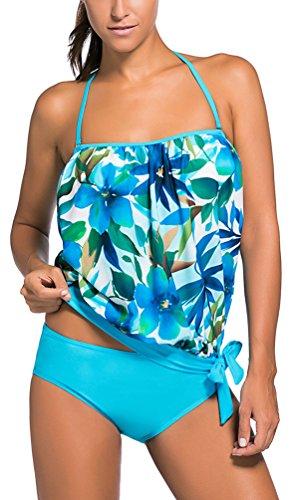 OLIPHEE Damen Zweiteilig Bandeau Tankini Bandeanzüge Trägerloses Verband Bodysuit Bademode mit Slips Blau Blüten 2XL -