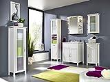 SAM Design Badmöbel-Set Valencia 5tlg, weiß lackiertes Kiefernholz, 1 x Waschplatz mit Waschbecken, 1 x Spiegelschrank, 1 x Hochschrank, 1 x Hängeschrank, 1 x Unterschrank