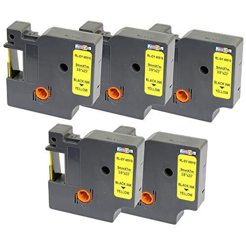 5x Schriftband-Kassetten D1 40918 S0720730 schwarz auf gelb 9mm x 7m kompatibel für DYMO LabelManager LM 160 210D 220P 260P 280 360D 420P 450D 500TS PnP MobileLabeler LabelPoint LabelWriter LW 450 Duo