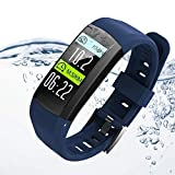 TianranRT S906 Smart Uhr Armband IP68 Wasserdicht Uhr Schrittzähler Sport Armband GPS, (Blau)