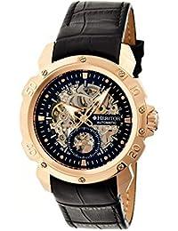 Heritor Automatic Hombre 'Carter' movimiento quirúrgico 316L Acero Inoxidable de Calidad Funda y bisel y piel Casual reloj, color: negro (Modelo: herhr2506)