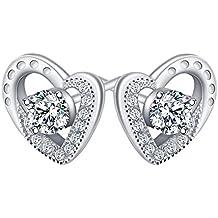 "ATMOKO 925 Sterling Silber Kette Damen Ohrringe Damen Halskette 3A Zirkonia Schmuck ""Ewige Liebe"" Herz-Anhänger Perfektes Geschenk für Damen Frauen Mädchen Mutter Freundin"