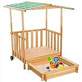 helloshop26108005Sandkasten Kinder Haus Holz mit Veranda + Dach, Mehrfarbig, 106x 105x 135cm