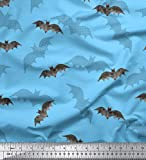 Soimoi Blau Baumwolljersey Stoff Schatten & Fledermaus Tier