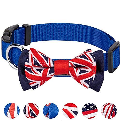 Kostüm Hunter Cute - Blueberry Pet Nationalstolz Artistische Handgefertigte Union Jack Flagge Fliege Hundehalsband in Blau, M, Hals 37cm-50cm