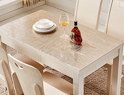 Nappes en Verre Souple en PVC Rectangle Table Table Mats Imperméable À l'eau en Plastique Anti-Hot-résistant À l'huile (1.0mm) (Couleur : Champagne Or, Taille : 80 * 135cm)
