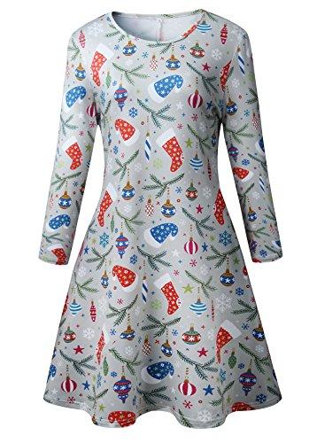 Frauen Mädchen Weihnachten Kleid Santa Weihnachten Geschenk Herz Print Swing (Mädchen Santa Kleider Für)