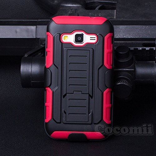 Galaxy Core Prime / Win 2 / Prevail Coque, Cocomii Robot Armor NEW [Heavy Duty] Premium Belt Clip Holster Kickstand Shockproof Hard Bumper Shell [Military Defender] Full Body Dual Layer Rugged Cover Case Étui Housse Samsung G360 G361 (Red)