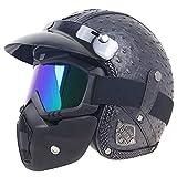 CHEYAL Vintage Harley 3/4 Open Face Helmet, Jet Helmet Motorcycle Helmet/E.C.E Standard mit Goggles Mask und Sun Visor PU Leder Removable Lining,XL