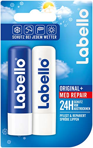 Labello Winter Mixpack im 3er Pack (3 x 2 Lippenpflegestifte), Lippenpflege Set mit Labello Original und Labello Med Repair für natürlich schöne Lippen, Lippenbalsam ohne Mineralöle