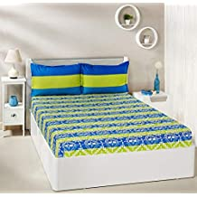 Amazon Brand - Solimo Mural Stripes 144 TC 100% Cotton Double Bedsheet with 2 Pillow Covers, Green and Blue