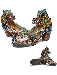 d338d325bf6 gracosy Cuero Zapatos de Tacón Medio de Mujer