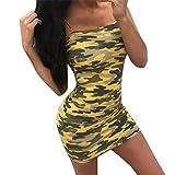 JIANGfu Robes Femme Elegante Womens Camouflage Imprimer Boho Mini Robe Lady Plage Summer Sundress Maxi Dress (M, Jaune)
