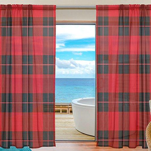 DOSHINE Dowshine Vorhang, geometrisches Gitter, rotes Muster, Vorhänge für Jungen, Mädchen, Wohnzimmer, Badezimmer, Schlafzimmer, 139,7 x 198 cm, 2 Paneele, Polyester, Multi, 55