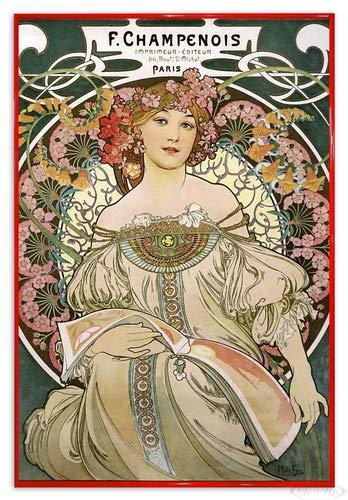 Close Up Alfons Mucha Poster Jugendstil F. Champenois 1897 (94x63,5 cm) gerahmt in: Rahmen rot -