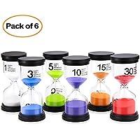 Comsmart Sand Timer, 6 Colors Hourglass Sandglass Sand Clock Timer 1min/3mins/5mins/10mins/15mins/30mins for Classroom Game Home Office Decoration (6pcs)