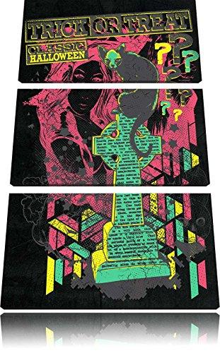 Trick or Treat black 3-Teiler Leinwandbild 120x80 Bild auf Leinwand, XXL riesige Bilder fertig gerahmt mit Keilrahmen, Kunstdruck auf Wandbild mit Rahmen, gänstiger als Gemälde oder Ölbild, kein Poster oder Plakat (Halloween Zeichnungen Grabstein)