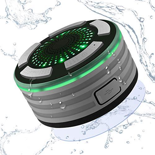 Alitoo Lautsprecher Bluetooth,Wasserdichter IPX7 Duschlautsprecher Wireless Dusche Speaker mit FM Radio,HD Sound,Saugnapf,LED-Licht,Eingebauter Mic,Freisprecheinrichtung für Pool,Küche & Home(Grey)