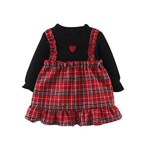 Livoral Baby Madchen Sommer Kleidung Kleinkindbabykindermädchen-Patchwork faltet gekräuselte Karierte Liebesdruck-Kleiderkleidung(Rot,80)