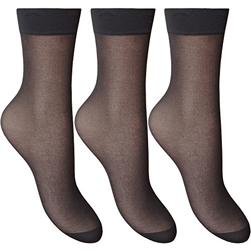 Ladies Silky Soft, Sheer & Durable Smooth Knit Everyday Anklets (3 Pair Multi Pack) (Barely Black)