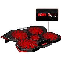 "Base de Refrigeración para Ordenador Portátil 12""-17'',Base Gaming con 5 Ventiladores Ultra Silenciosos con Iluminación LED Roja,con LCD Pantalla de Visualización y de Temperatura,Enfriamiento Rápido"