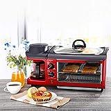3 In 1 Frühstück Maschine Mit 900W Backofen, 700W Toaster Und 600W/600Ml Kaffeemaschine.9L Multifunktions Küche Kleingeräte, Einstellbare Thermostat Und Timer, Leicht Zu Reinigen Küchengeräte,Rot