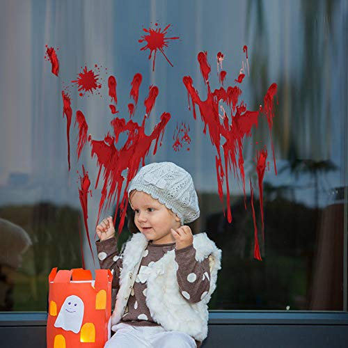 Wandaufkleber Blut Hand Druck Halloween Wand Boden Sticks Dekor Machen Horror Atmosphäre 30X45 cm (Für Hand-drucke Halloween)
