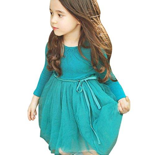 Schöne Kleider für mädchen Kleinkinder kleider Longra Mädchen Langarm Shirt Kleid Kostüm Tutu Kleid Prinzessin Karneval Party Kleid kinderklamotten kinderkleidung (Green, 100CM 2Jahre) (Print Cap Satin)