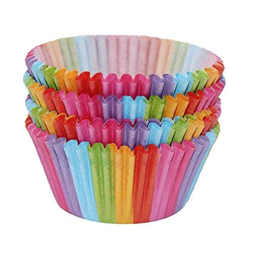 Rost weihpe 100PCS Rainbow Farbe Cupcake Liner Cupcake-Backförmchen Muffin Fällen Kuchen Form Klein Kuchen, Box Tasse Tablett Dekorieren Werkzeuge