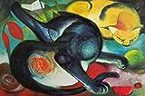 1art1 77760 Franz Marc - Zwei Katzen, Blau Und Gelb, 1912 Poster Kunstdruck 120 x 80 cm