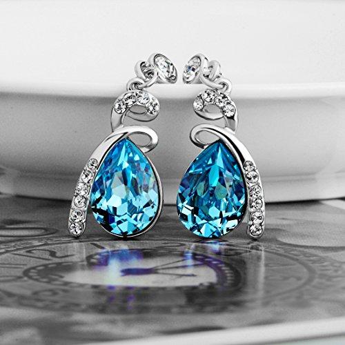 SWAROVSKI ELEMENTS Platinum Plated Blue Crystal Teardrop Drop/Dangle Earrings