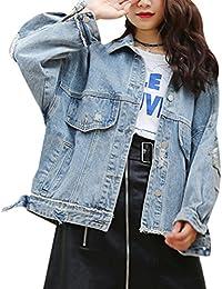 Yasong Women Girls Loose Fit Long Sleeve Vintage Denim Light Wash Faded Irregular Ripped Boyfriend Jean Jacket