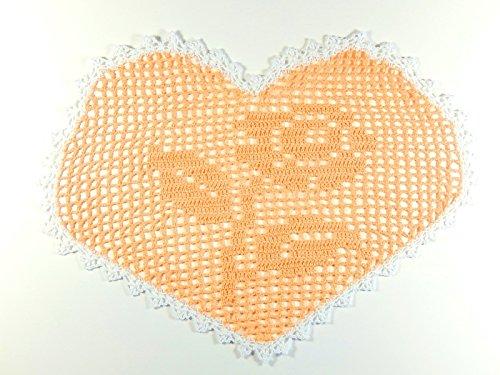 Häkeldeckchen Herz gehäkeltes Deckchen Herzdeckchen Filethäkeldeckchen Muttertag
