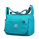 Voberry Leisure Womens Girls Waterproof Nylon Messenger Bags Shoulder Bags (Light Blue)