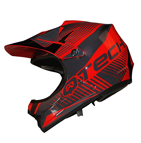Casco Motocross per Bambino Moto Cross Enduro ATV MX BMX Quad Nero Opaco - Rosso - S (53-54cm)