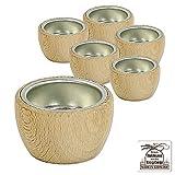 Dekohelden24 6 tlg. Set Teelicht Tülle Holz mit Metalleinsatz aus Buchenholz Konisch gedrechselt Ø Unten 40 mm//Ø Oben 55 mm Höhe 35 mm