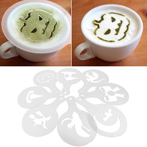 oween Thema Cappuccino Kaffee Schablonen - Latte Kaffee Dekor Schablone Kunststoff Vorlage Streuen Blumen Pad Duster Spray (Halloween Latte)