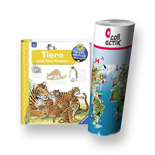 Ravensburger Kinder Sachbuch 4-7 Jahre | Tiere und ihre Kinder + Kinder Tier Weltkarte by Collectix
