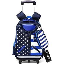 Bolsa de escuela mochila de escuela ruedas chica niña chico niño nailón impermeable desmontable para alumnas la escuela primaria