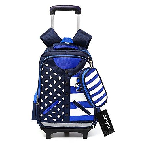 cartable scolaire à roulettes Sac d'école Sac à dos à roulettes nylon imperméable détachable pour garçon enfant (Bleu)