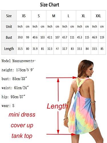 ROMWE Damen Tie-Dye Strandkleid V Ausschnitt Regenbogen Farbstoff mit Knotendetails Ärmellos Sommerkleid Trägerkleid Bunt
