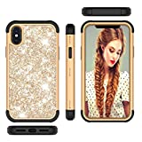 Forhouse Phone Hülle für iPhone X iPhone XS Hülle Protection Defender Cover Case Back Bumper Cover [ Golden+Black ]