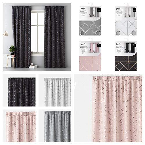room99 Moderne Vorhänge 140 x 250 Ösenschal Kräuselband mit Gold Silber Muster Glammy (Dusty Pink, Kräuselband)